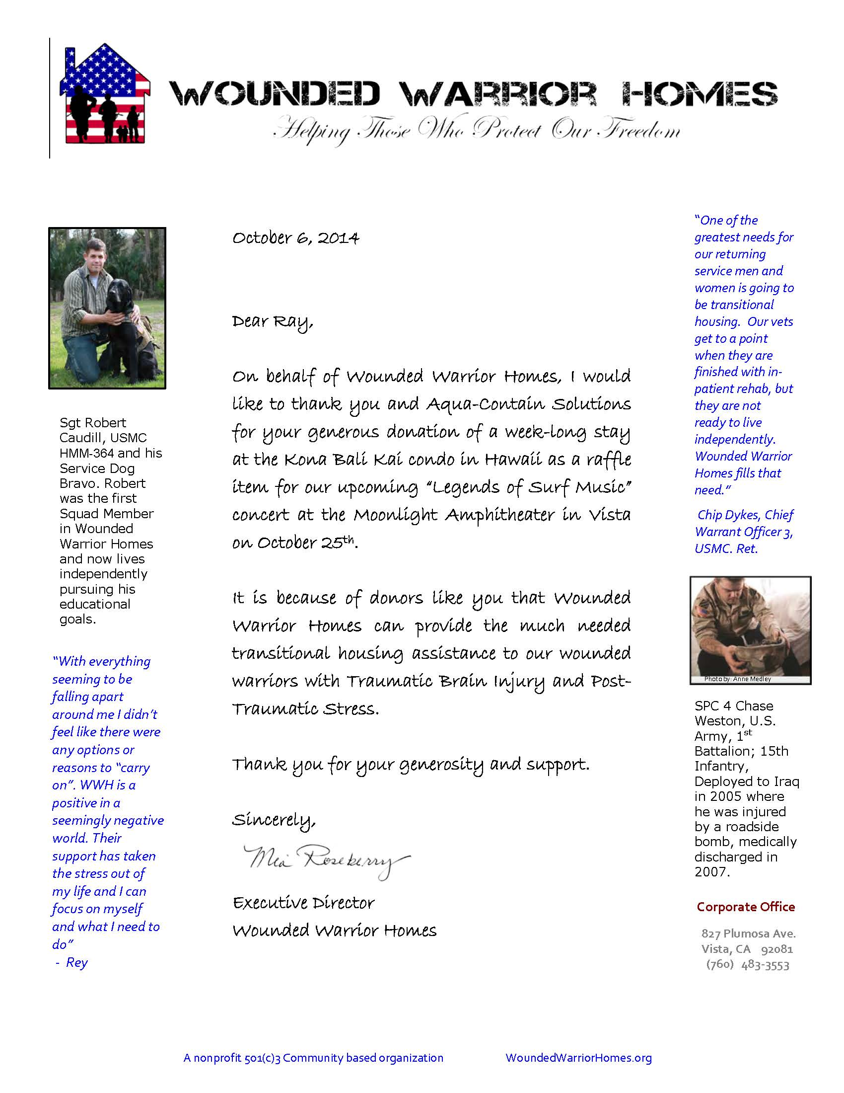 Wounded Warrior Donation Thank You Letter